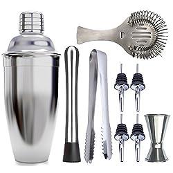 Le Homeware Bar Cocktail Shaker Set Premium Edelstahl Mixer mit Sieb 750 ml Packung von 9-teilig mit Sieb, Messbecher, Löffel, Zange, Ausgießer