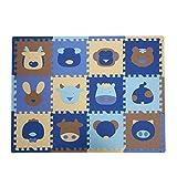 Baoblaze 12tlg. PE Bodenmatte Puzzleteppich Spielmatte Puzzlematte Soft Baby Kinder - Sheng-Xiao Blau