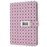 Jia HU A5en grille verrouillage Cuir ordinateur portable avec marque-page porte-stylo pour enfants garçons filles école voyage Bureau rose