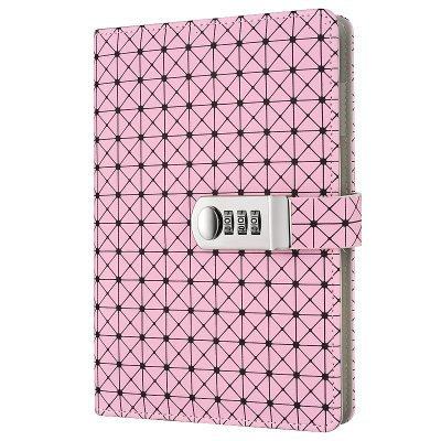 Jia HU A5Grid modello bloccaggio del computer con segnalibro portapenne per bambini, ragazzi e ragazze scuola viaggio ufficio Pink