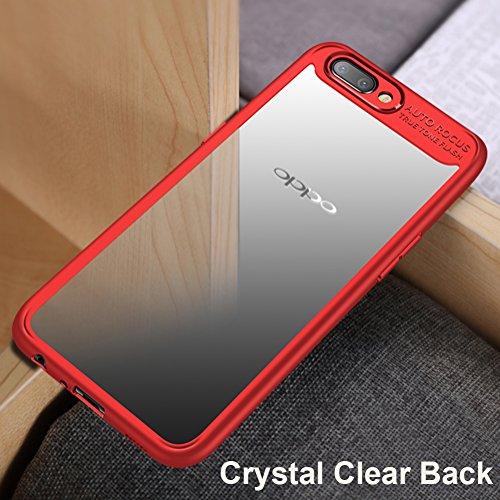Cover Oppo R11 Plus (6.0), MSVII® Trasparente PC Posteriore Back Silicone Bumper Custodia Cover Case e Pellicola Protettiva Per Oppo R11 Plus (6.0) - Blu JY40005 Rosso
