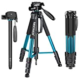 Neewer Portable 70 inches/177 centimeters Aluminium Alloy Camera Tripod Monopod with 3-Way Swivel Pan Head,Bag for DSLR Camera,DV Video Camcorder,Load up to 8.8 pounds/4 kilograms Blue(SAB264)