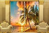H&M Gardinen Vorhang Strand Sonnenuntergang EIN Warmer Schatten Tuch UV-Druck 3D dekoriert Schlafzimmerfenster Vorhänge fertig, Wide 3.6X high 2.7