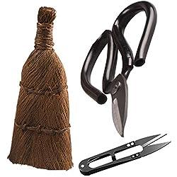 GARDEN COLISEUM Kit d'outils pour Arbre à bonsaï 3 pièces Comprend des Ciseaux à élaguer, Un Coupe-Feuille, Une Brosse Traditionnelle Faite à la Main.