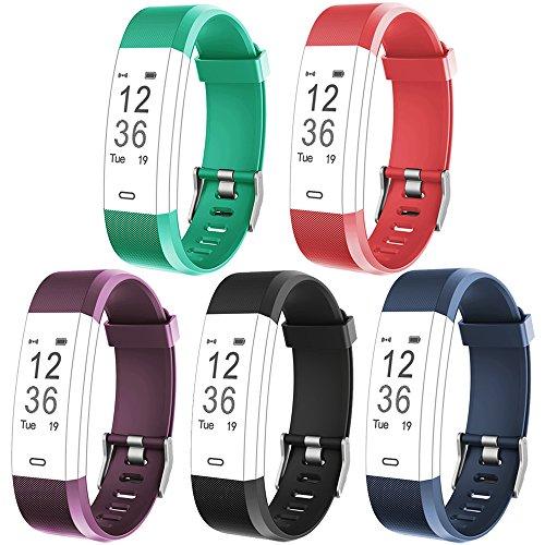 Rayfit Pulseras de Repuesto para Fitness Tracker ID115Plus HR / ID115 HR Plus / SW333 Monitor de Actividad Banda Reemplazo Correa de Reloj Inteligente (Púrpura + Azul + Negro + Rojo + Verde)