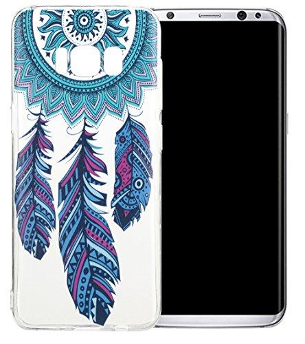 Nnopbeclik Silikon Transparent Hülle Für Samsung Galaxy S8, Ultra Slim Weich TPU Cover Case [Einfaches Design] Durchsichtig Blume Case Etui, Druck Multi Muster [Schmetterling] Niedlich Schutzhülle Glä Traumfänger