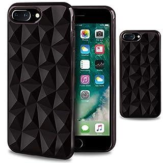 Moozy Silikon Hülle für iPhone 7 Plus / 8 Plus, Schwarz - TPU Texturiert 3D Geometrisches Prism Design Schutzhülle Case