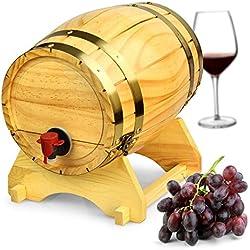 Dispensador de barril de vino de madera pino natural (5L), estilo vintage mesa Dispensador de vino