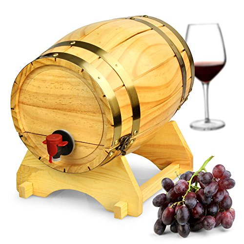 bar@drinkstuff Holz Weinfass Spender Kiefer Natur 5 Liter - Vintage Stil Tabletop Wein Spender