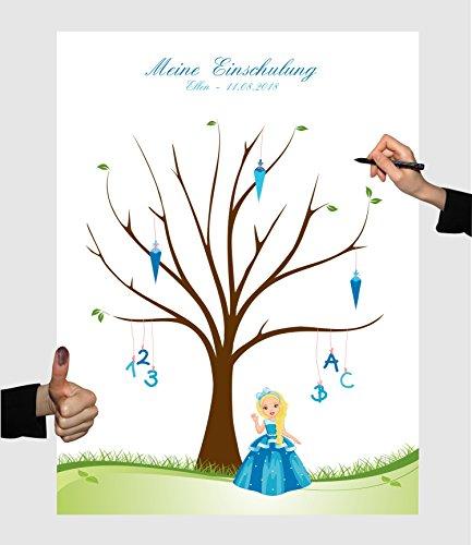 Herzl-Manufaktur Schulanfang Fingerabdruckbaum Prinzessin blau Leinwand personalisiert 30x40cm Zuckertütenbaum Gästebuch Schuleinführung