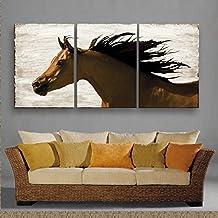 M&DZ 3PCS caballos al galope Conjunto de tres cuadros de pintura decorativa sin marco pinturas pasillo sala comedor den vivos , 40*60*3