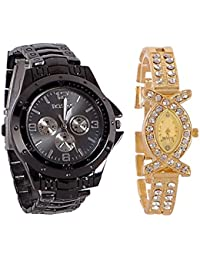 Stainless Steel Analog Couple Watchs Analog Watch - For Couple Rosra