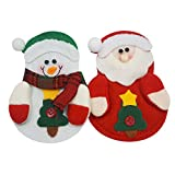 SZsaien 2pcs Kitchen Cutlery Suit Silverware Holders Pockets Knifes Forks Bag Snowman Shaped Christmas Party Decoration Dinner Christmas Bags for Knife and Fork Christmas Decorations