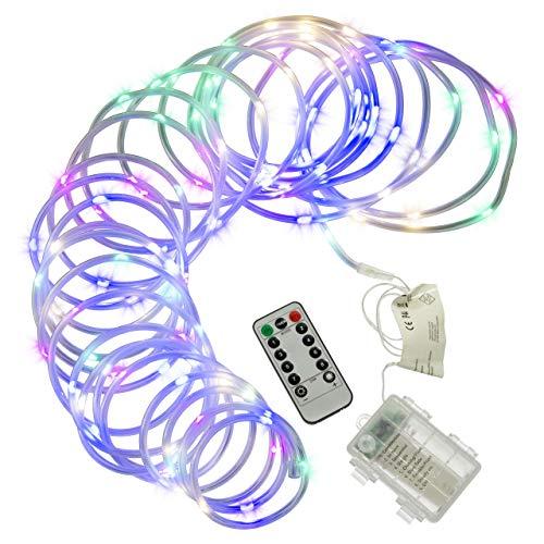 10 m Mini-Lichterschlauch 100 LED bunt gefrostet 8 Funktionen Timer Batterie Fernbedienung außen dimmbar Weihnachtsdeko Partydeko Festdeko