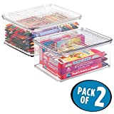 mDesign 2er-Set Aufbewahrungsbox mit Deckel – stapelbare Box fürs Kinderzimmer – praktische Spielzeugaufbewahrung aus Kunststoff – durchsichtig