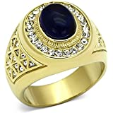 Ah! Jewellery Men's Gold Over Stainless Steel Montana Lab Created Diamond Ring. Total Weight of 15.2gr and Total Width of 20mm. Excellent Quality.