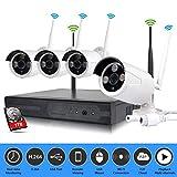 EDSSZ® Unità disco rigido da 1 TB interna/esterna 4 canali NVR wireless WIFI Kit HD 1280 * 960P IR Telecamera day/night vision IP Telecamera di sorveglianza P2P CCTV EDS-WIFIKIT04-960P-1TB