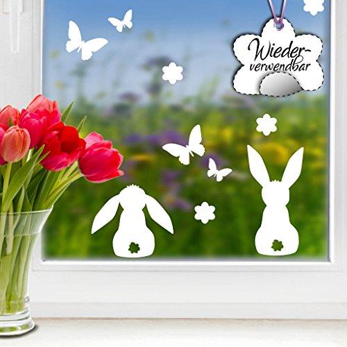 """Fensteraufkleber Ostermotiv """"Drei süße Hasen mit Blumen und Schmetterlingen"""" in der Farbe WEIß von Wandtattoo-Loft® / WIEDERVERWENDBAR / 23 Aufkleber im Set / Fensterbilder / Fensterdeko Set"""