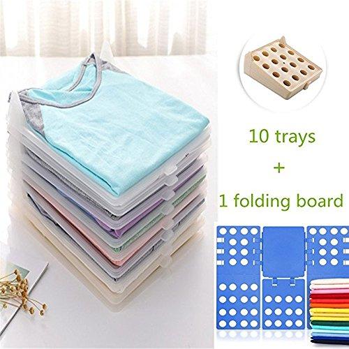 Gentoo Kleidung Organizer, T-Mix Closet Organizer/T-Shirt Underwear Folder with 10-Piece Separate Board (Khaki + Folding Board)