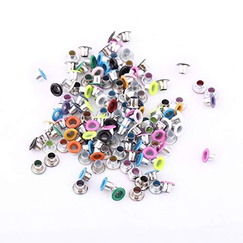 GLOGLOW 500pcs colori misti 3mm occhielli di forma rotonda, carta di scrapbooking fare scarpe artigianali in pelle vestiti occhielli in metallo fai da te