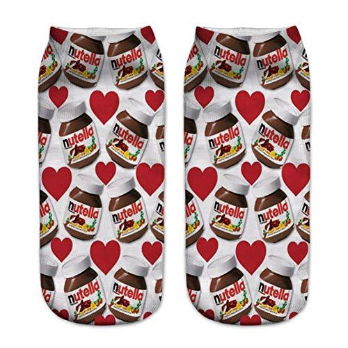 HNDDWZDB 3d Drucken Socken Knöchelsocken Frauen Weihnachten Rot Herz Medizin Casual Happy Socks nutella rot Liebe Gedruckt Lustige Socken Unisex Low Cut Socken -