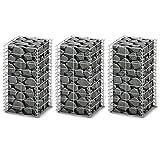 vidaXL 3x Bases pour Mur Gabion 25x25x50 cm Clôture de Jardin Panier à Pierres