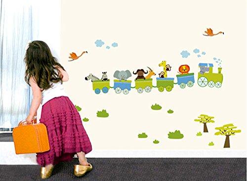 ufengke® Treno Cartone Animato con Piccoli Animali Adesivi Murali, Carino Zebra Elefante Cervi e Leoni, (Treno Decorazione Della Parete Di)