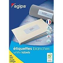 Agipa Boîte de 2400 étiquettes blanches pour imprimante jet d'encre/ laser/copieur 70x35