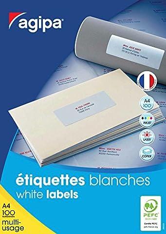 Agipa Boîte de 1600 étiquettes blanches pour imprimante jet d'encre/ laser/copieur 105x37