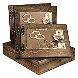 1 dunkles Fotoalbum & 1 Gästebuch mit Hochzeitsmotiv in Kiste Hochzeitsgeschenke