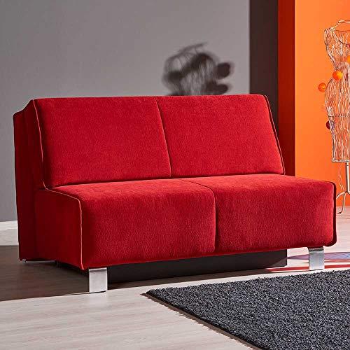 Pharao24 Faltsofa in Rot Webstoff modern Breite 145 cm 2 Sitzplätze