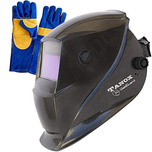 Masque de soudage auto-obscurcissant à énergie solaire Tanox ADF-206S : verre teinté, compatible soudage Tig/Mig/MMA, plage réglable 4/9-13, meulage 0000, gants de soudage ignifugés en Kevlar 40 cm
