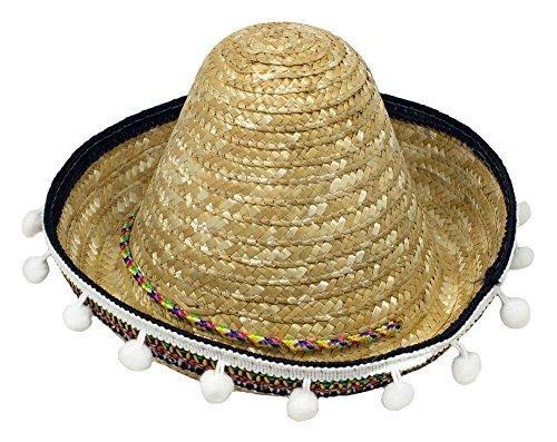 Mexikaner Sombrero mit Troddeln für Kinder - 25 cm/Natur - Zubehör Hut zum Mexiko ()