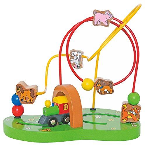 Motorikschleife aus Holz - fahrende Eisenbahn + Tiere + Labyrinth - Motorik - Schiebespiel - Holzfigur zum Schieben / Ziehen - Spielzeug für Kinder Mädchen Jungen - Motorikspielzeug
