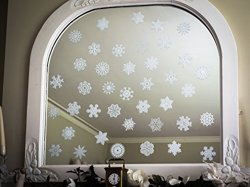 Stickers4 40Einzigartige Schneeflocke selbst Aufkleber (je ca. 75mm (7,6cm) über) für Windows & Spiegel–Seasonal Fenster Aufkleber, für Weihnachten (Fenster Schneeflocke Aufkleber)