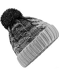72050627134aca Neverless Strick-Mütze Herren Grobstrick Pudel-Mütze zweifarbig Ombré Bommel -Mütze ...