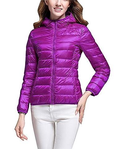 Daunenmantel Damen Daunenjacke Steppjacke Übergangsjacke Leicht Winter Jacke mit Kapuze Purpurrot 3XL