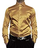 Pierre Martin Herren Hemd Glanz Gold Gelb Herrenhemd Slim Fit Größe M 40