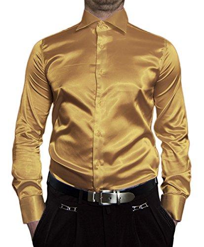Herren Hemd Glanz Gold Gelb Herrenhemd Slim Fit Größe L 41