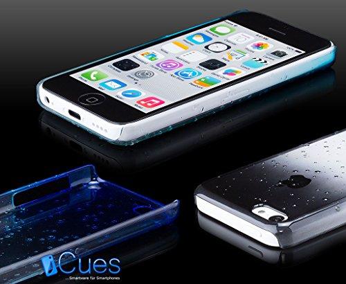 iCues Apple iPhone 5C |  Wassertropfen Case Schwarz | [Display Schutzfolie Inklusive] Transparent Klarsichthülle Durchsichtig Klare Klarsicht Schutzhülle Hülle Cover Schutz Schwarz
