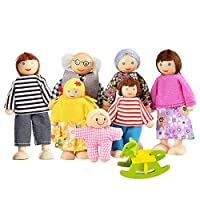 Lovely Happy Family Dolls Playset Wooden Figures Set of 7 People for Kids Children Toddlers - Dollhouse Pretend Gift