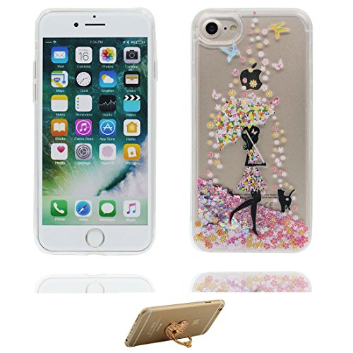 "iPhone 7 Coque, Skin Hard Clear étui iPhone 7, Design Glitter Bling Sparkles Shinny Flowing Apple iPhone 7 Case Cover 4.7"", résistant aux chocs et ring Support (cheval) # 3"