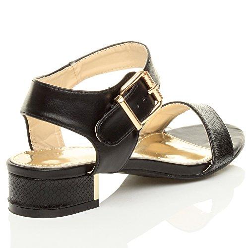 Damen Kleine Mittel Blockabsatz Knöchelriemen Party Abend Sandalen Schuhe Größe Schwarze Schlange