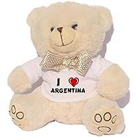 Oso blanco de peluche con Amo Argentina en la camiseta (nombre de pila/apellido