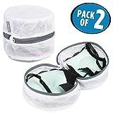 mDesign 2er-Set Wäschesack mit Reißverschluss - moderner Wäschesortierer für die Waschmaschine - Wäschenetz für BHs, Unterwäsche und Feinwäsche - weiß