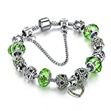 Hot And Bold Valentine Charms Sterling Silver Plated Glass Ceramic Crystal Bracelet Jewelry