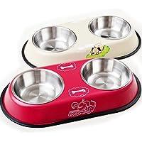 UEETEK Perro gato Bowl No derrame acero inoxidable perro gato alimentos tazón de fuente de alimentación para mascotas (color al azar)