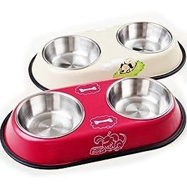 PIXNOR Ciotola in Acciaio per animali domestici cani gatti (colore casuale)