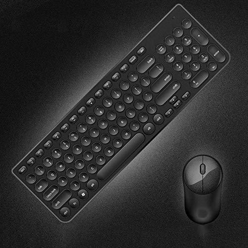 Drahtloser Geschäftstastatur- und -maussatz, Retro- Schreibmaschinentastendesign, einfach und stilvoll@Schwarz - Stilvolle Drahtlose Tastatur