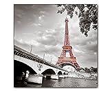 DEINEBILDER24 - Wandbild XXL eyecatcher roter Eiffelturm Paris 50 x 50 cm auf Leinwand und...